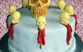 Strawberry Milkshake Skull Cake