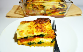 roasted squash and spinach lasagne
