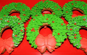 Gingerbread Iced Christmas Wreath cookies
