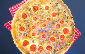 bacon tomato and basil quiche